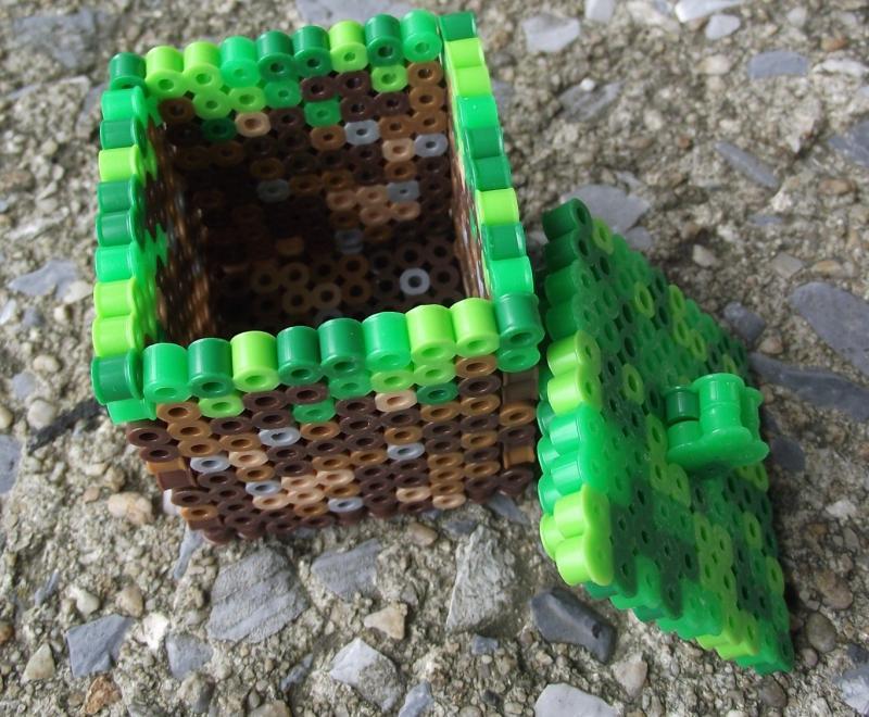 Minecraft dirt block perler bead trinket box