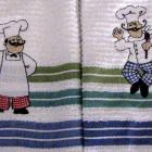 Embroidered little chef decorative kitchen towels set of 2