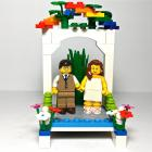 Rainbow Wedding Cake Topper made with LEGO® Bricks