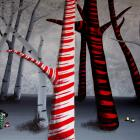 Fantasy Fairytale Art Print - Painting a Candy Cane Forest