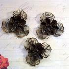 3pcs. 4.7cm Filigree Flower Antique Bronze (FRB-03)