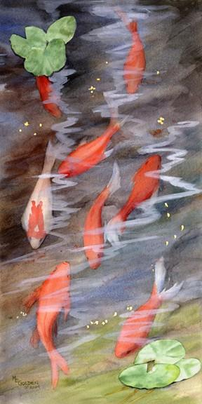 Koi – giclee print by Mary Ellen Golden on Zibbet