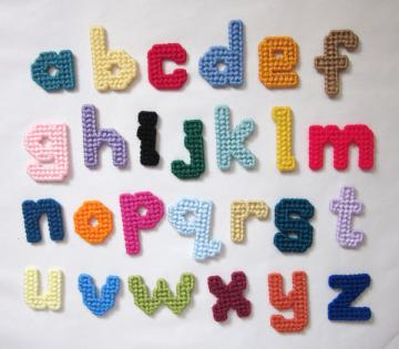 Lowercase ABC magnets in plastic canvas