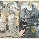 "The ""Black and White Series"" - Anthropomorphic Watercolor/Collage Print Set"