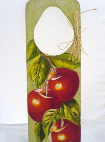 Wood Door Hanger Vibrant colors Red Apples- Home D