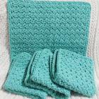 Handmade Wash Cloths Aqua Set of Four  Crocheted Cotton