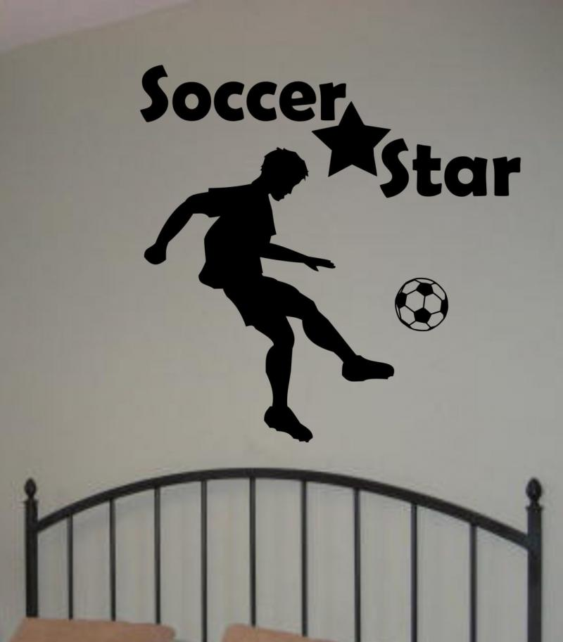 soccer star decal sticker wall boy sports children