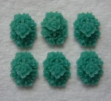 6 teal green 18x13 cluster flower cabs