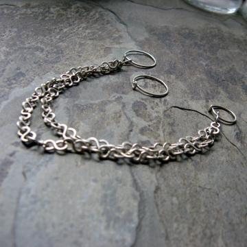 silver double chain nath-- primitive series
