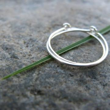 primitive-- sterling silver hoop earrings-- handmade by thebeadedlily