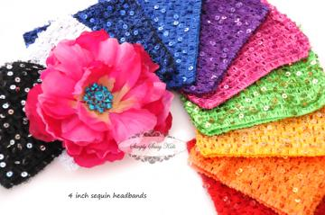 6 BLACK Crochet Sequin Embellished Headbands