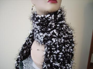 Black and White Crochet Scarf