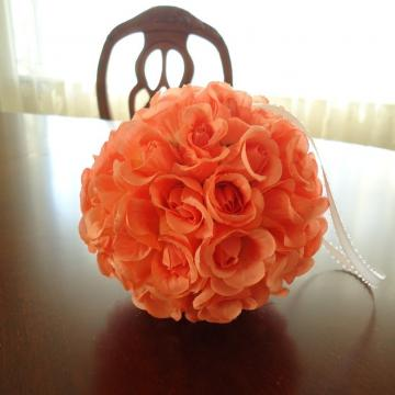 Free Shipping Handmade  Peach Silk Roses Flowers Ball Seasonal Wall Decor