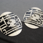 Vintage Musical Black and White Enamel Earrings