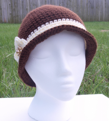 Chocolate Brown Cloche Hat with Beaded Flower
