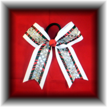 Red Black ZEBRA White Mini Cheer Bow Pony-O  FREE SHIPPING