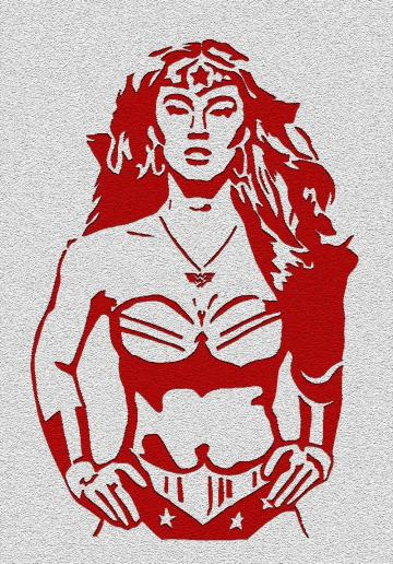 Wonder Woman -  Red on Silver Digitally Altered Sc