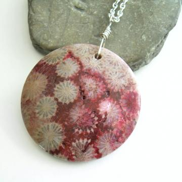 science fossil coral jewelry necklace