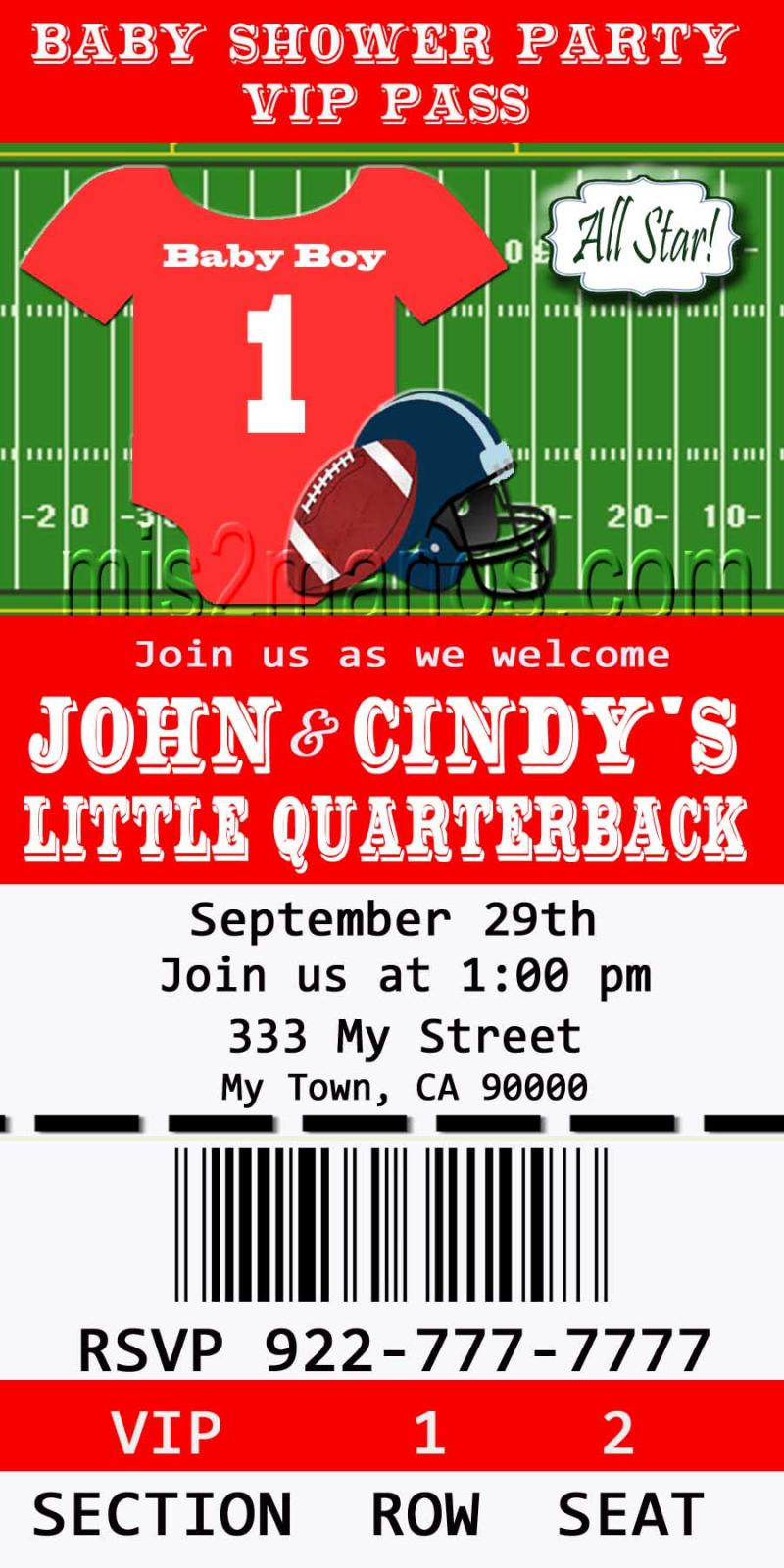 football baby shower printable ticket invitations printable photo