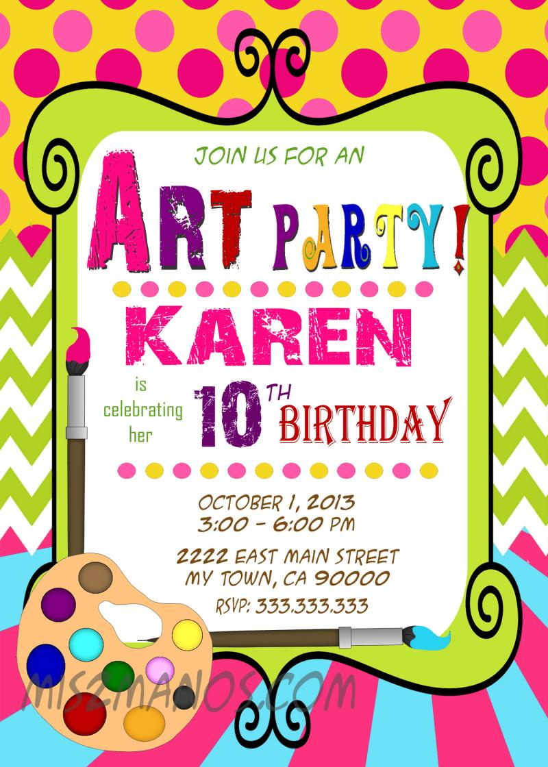 Art Birthday Party Invitations is the best ideas you have to choose for invitation example