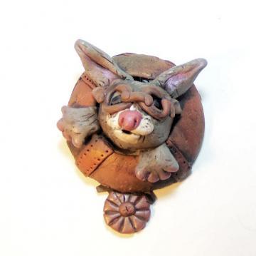 Steampunk Grey Bunny Rabbit Magnet - polymer clay steampunk