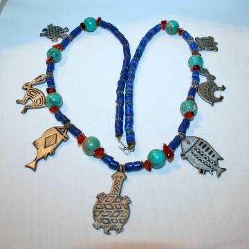 Vintage native american pewter totem necklace turtle fish rabbit