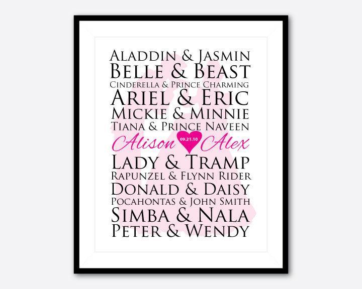 Wedding Gift Ideas Disney : Wedding GiftCustomizable Disney couples print8 10 printfor ...
