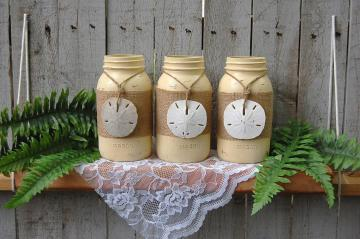 Ivory and Burlap Mason Jars by The Vintage Artistry