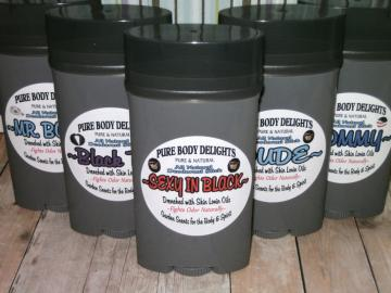 SEXY IN BLACK--All Natural VEGAN Deodorant for MEN,Loads of Skin Lovin Oils and Butters--Made from Scratch--BIG 4 oz.size--For all you SEXY Guys