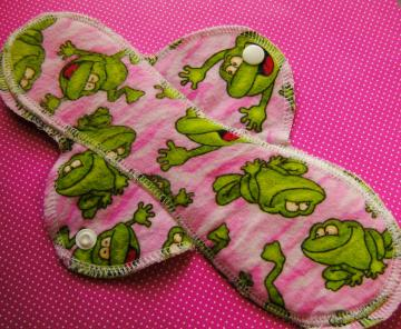 Happy Pink Frog--10 inch--Comfy Cloth Sanitary Pad--Medium to Heavy Flow--Feminine Pad--BUY 3 get 1 FREE