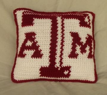 Texas Aggies Throw Pillow -  Crochet Pattern with Color Chart