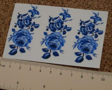 Blue Rose Ceramic Waterslide Decal D10-30