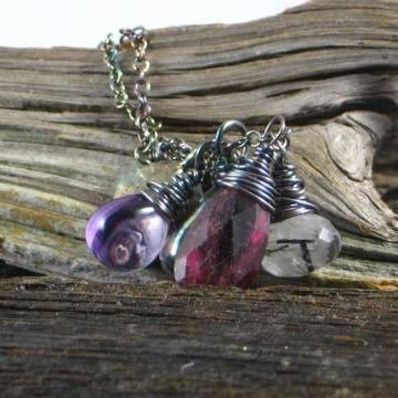 Pink Tourmaline Amethyst Rutilated Quartz Earth Elements Necklace Tre