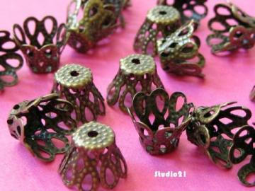 50 pcs of Antique Brozne Finish Cone Shape Bead Cap