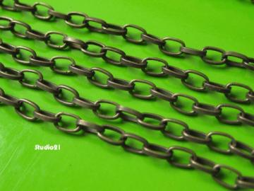 5 feet of Antique Bronze Finish Plain Oval Rollo Chain