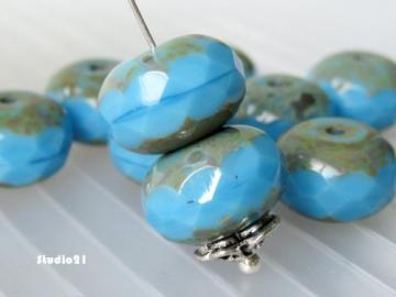 10 pcs of Turquoise Blue Czech Faceted Rondelle Glass Bead