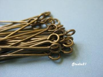 100 pcs 1-1/4 Inch Antique Brass Finish Eyepins