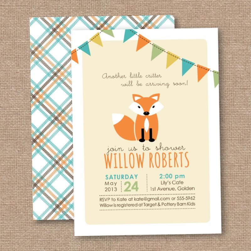 fox baby shower thank you gift tags instant printable download