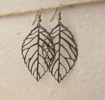 Bronze Skeleton Leaves: simple, autumnal bronze leaf earrings