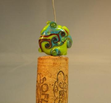 Bubbles and swirls button glass bead