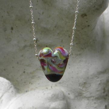 Heart lampwork bead pendant necklace