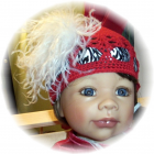 Crocheted Beanie Cap / Ostrich Feather / Zebra  FREE SHIPPING