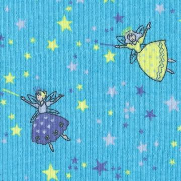 Fairies Faeries, Blue, Cotton Jersey Knit FQ