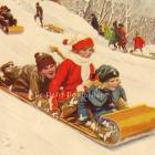 1927 Norman Price Winter Fun Litho, Down The Hill We Fly!