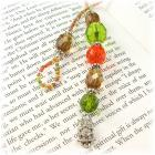 Autumn Owl Beaded Thong Bookmark