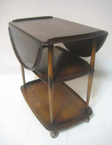 Vintage Mid Century Modern Ercol Ebony Oak Tea Cart Wine Liquor Trolley Server converts to Small Dinette or Game Table