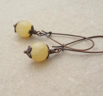 Yellow Buds earrings: Argentinian aragonite with antiqued copper ear-wires