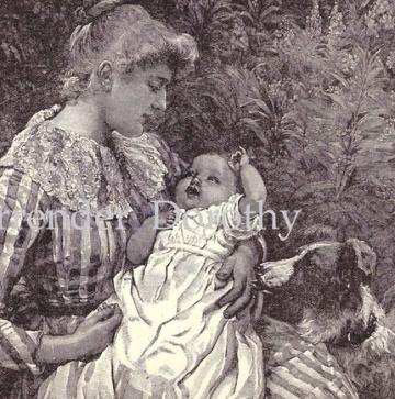 Happy Baby.1892  Victorian Steel Engraving To Frame