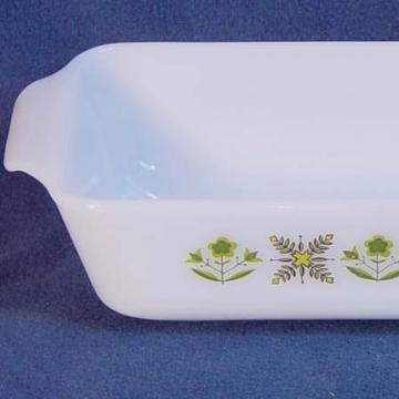 Fire King Loaf Pan  Milk Glsss Meadow Green 1967