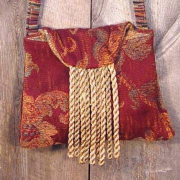 Petite And Elegant MaroonTapestry Bag Fiona The Bombshell